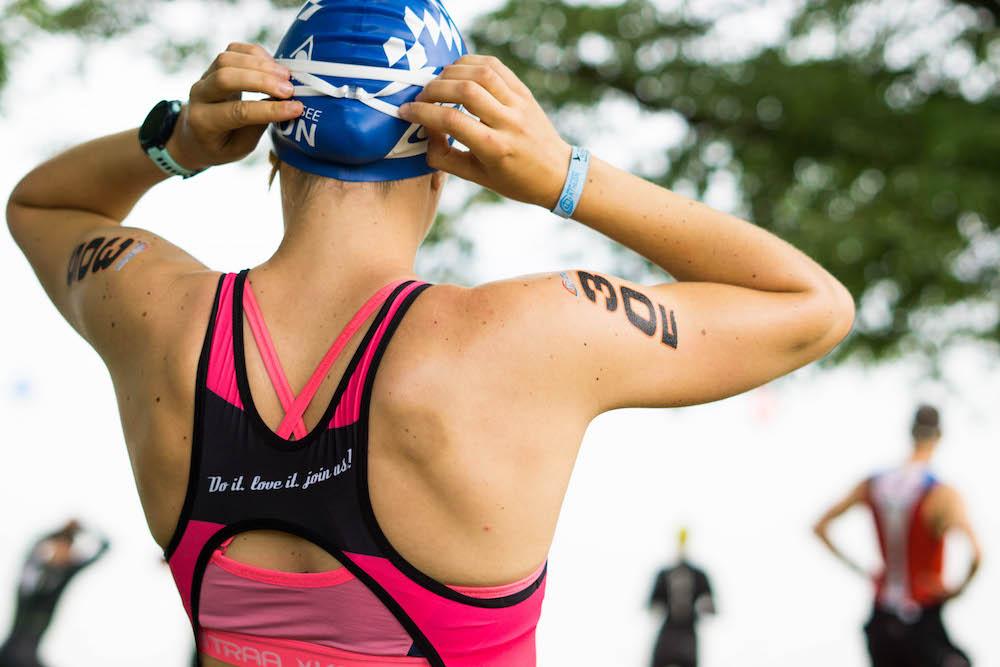 Judith vor ihrem Start beim Chiemsee Triathlon