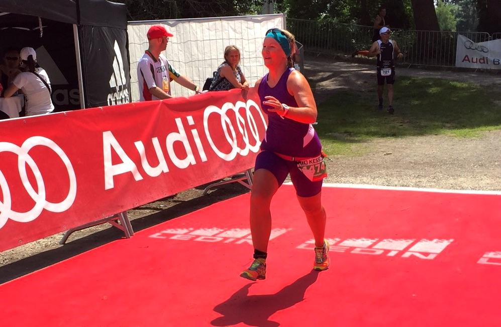 Franziska bei ihrem ersten Triathlon
