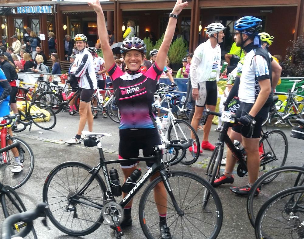 Katja Kraft beim Ötztaler Radmarathon – happy im Ziel