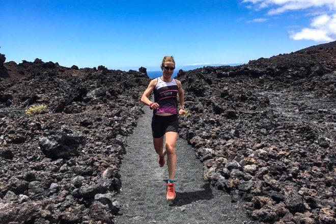 Simone beim Trailrunning auf La Palma