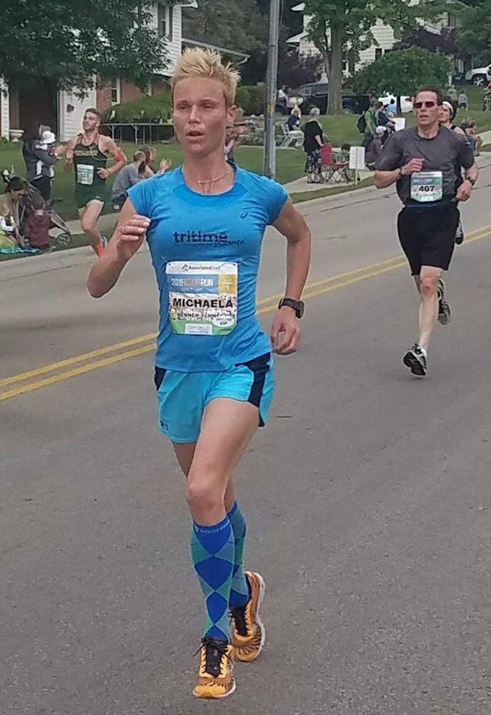 Michaela bei ihre ersten Laufwettkampf nach der Schwangerschaft