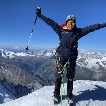 Profitriathletin Daniela Bleymehl auf dem Mont Blanc